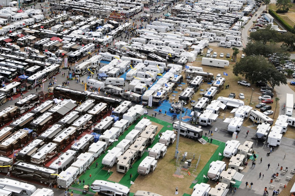 The Florida RV SuperShow in Tampa, the Largest RV Show in the Country with over 1,300 RVs direct from the manufacturers.  Also hundreds of supply and accessory booths, entertainment, seminars and loads of food!  This year we're proud to host The Wall That Heals, the 1/2 scale replica of the Vietnam War Memorial in Washington, DC.  Contact frvta.org for more information. (PRNewsFoto/Florida RV Trade Association)